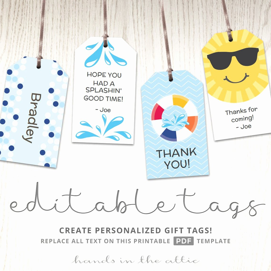 Printable Gift Tags Template Inspirational Editable T Tags T Tag Template Favor Tags Pool Party