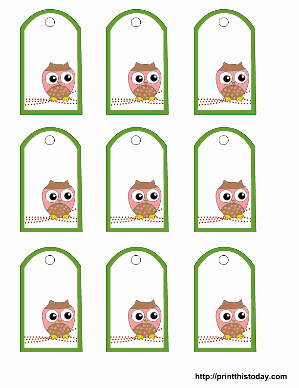Printable Gift Tags Template Inspirational Free Printable Owl Gift Tags Templates In Pink or Blue or