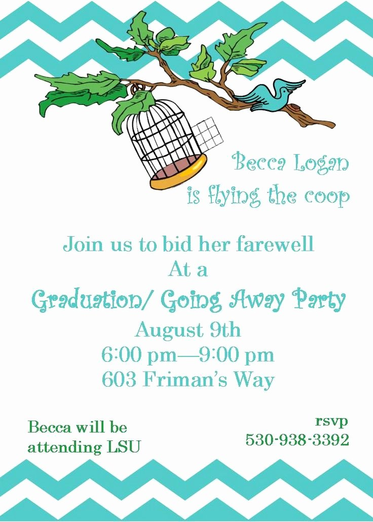 Printable Going Away Cards Fresh Going Away Party Invitations Flying the Coop