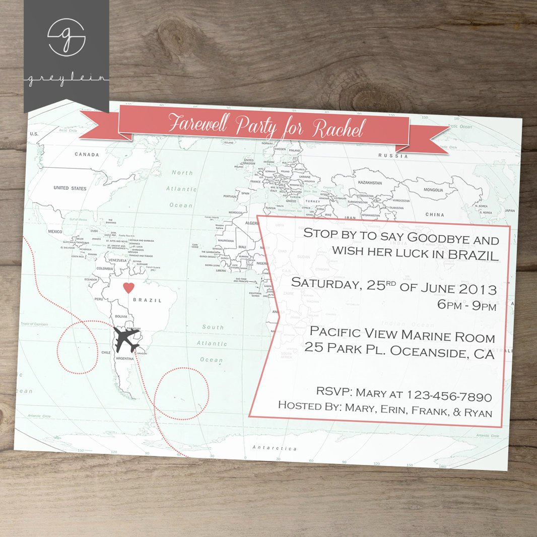 Printable Going Away Cards Luxury Going Away Party Invitations Goodbye Party Invites by