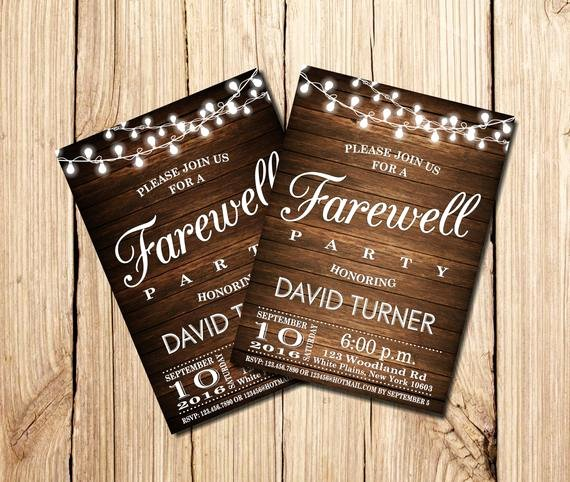 Printable Going Away Cards Unique Farewell Party Invitation Farewell Invitation Rustic