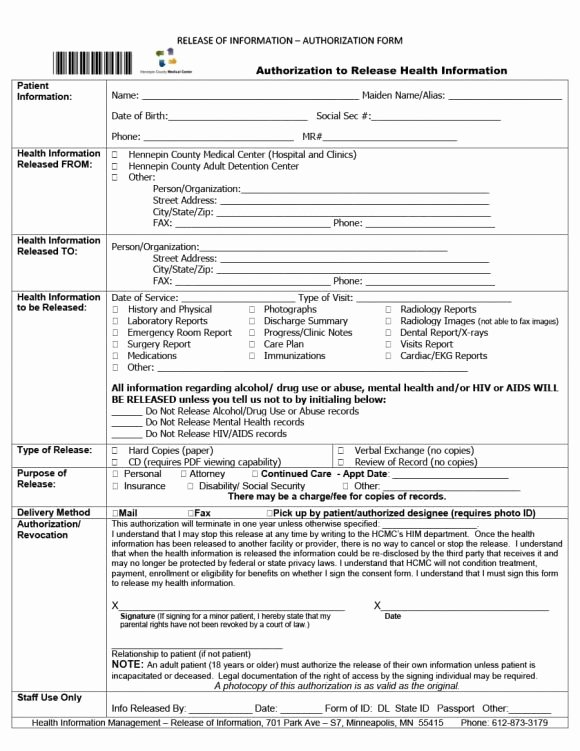 Printable Hospital Discharge Papers New 40 Medical Records Release form Release Of Information