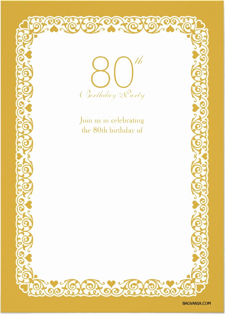Printable Invitations for Free Inspirational Free Printable 80th Birthday Invitations – Free Printable