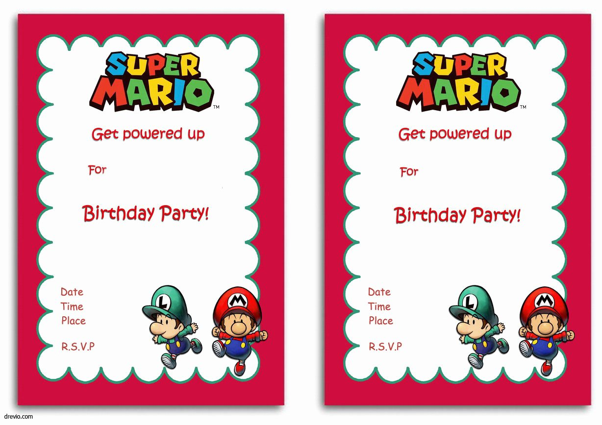 Printable Invitations for Free Inspirational Free Printable Super Mario Bros Invitation Template
