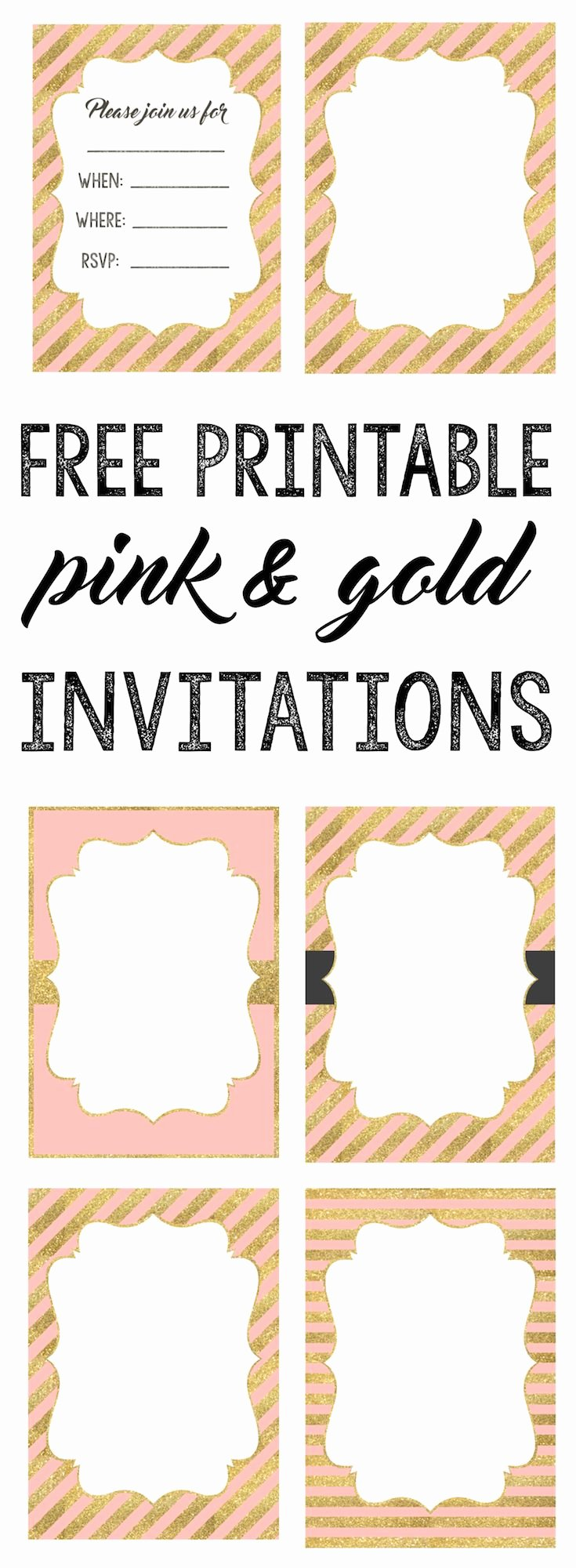 Printable Invitations for Free Luxury Pink and Gold Invitations Free Printable Baby