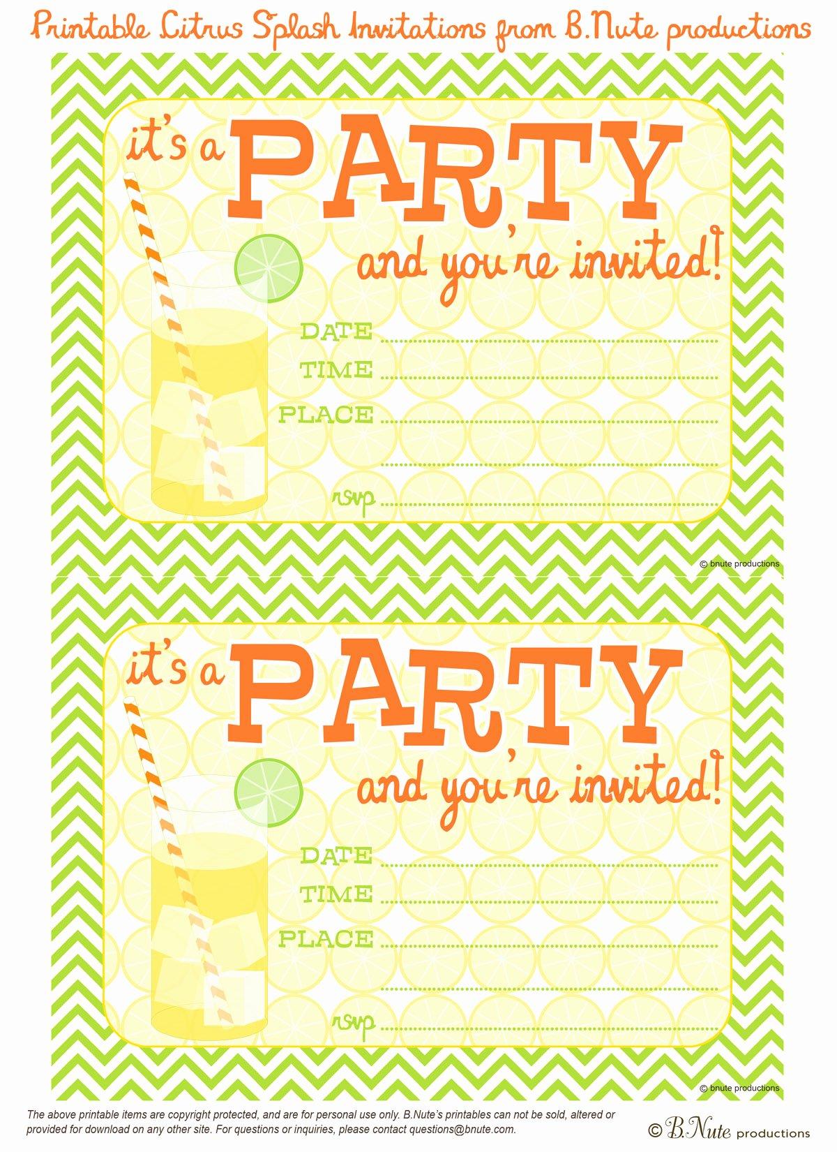 Printable Invitations for Free Unique Bnute Productions Free Printable Citrus Splash Invitations