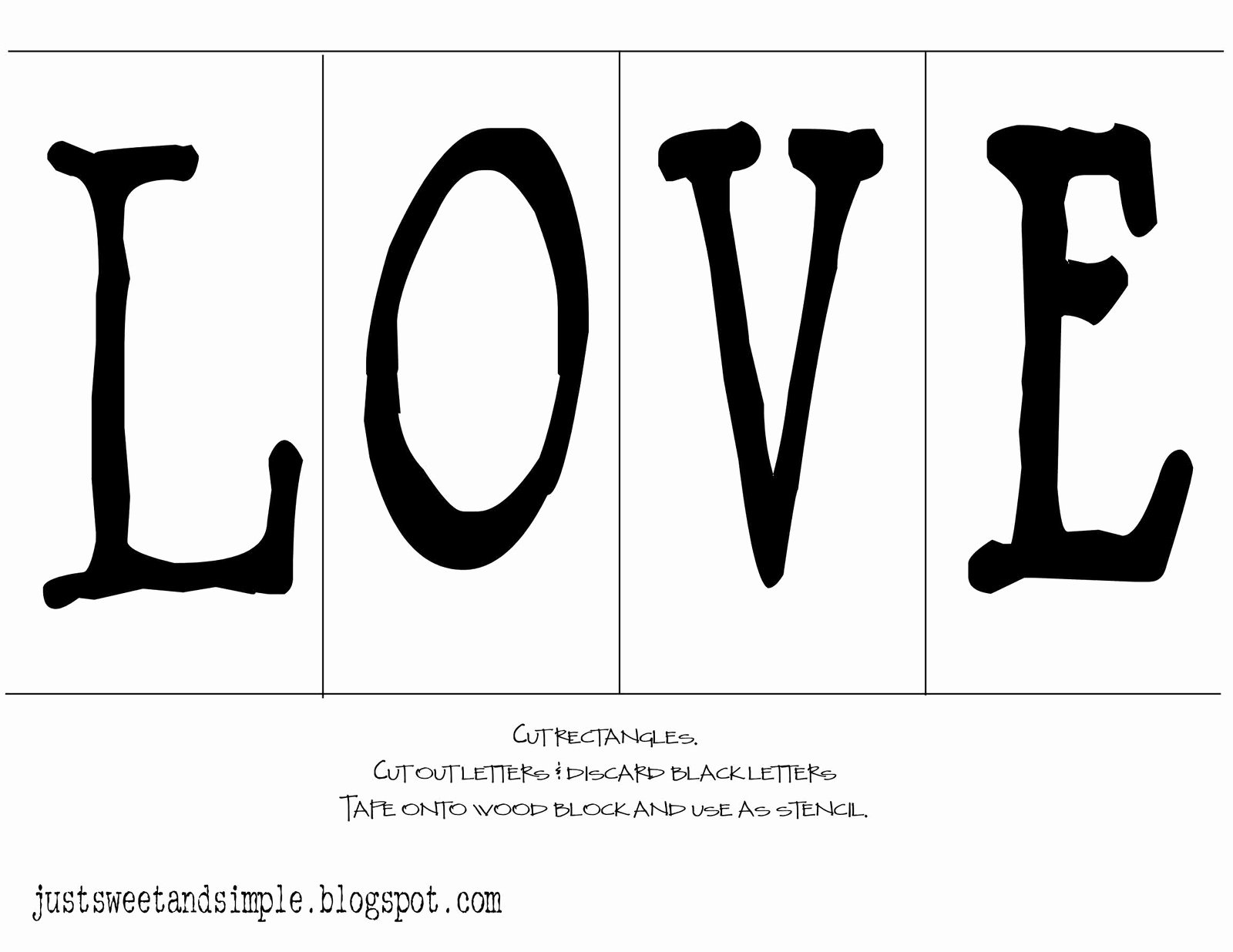 Printable Letter Stencils for Wood Inspirational Just Sweet and Simple Love Wood Blocks
