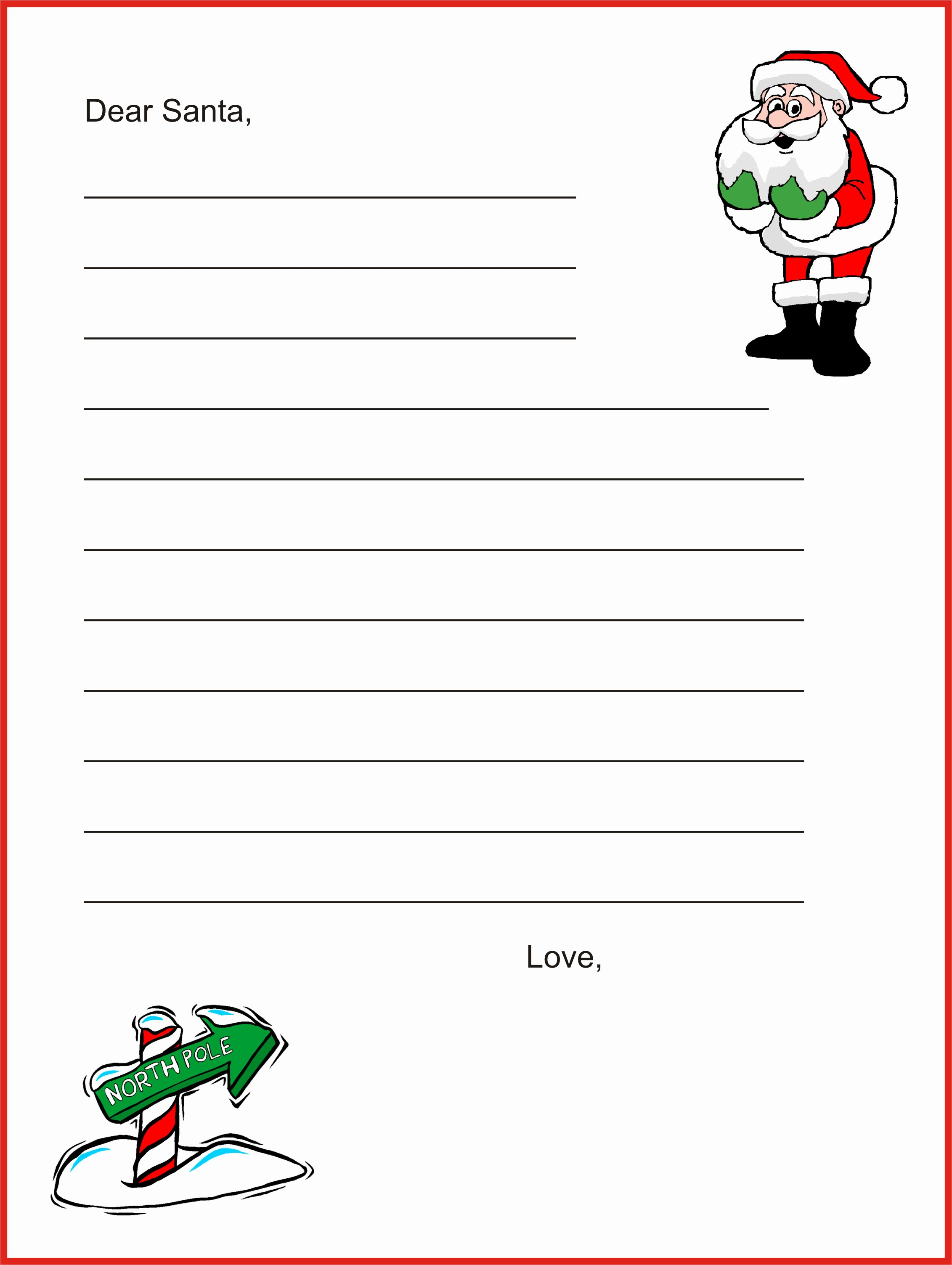 Printable Letter Writing Template Awesome Free Printable Dear Santa Letter Templates Hd Writing Co