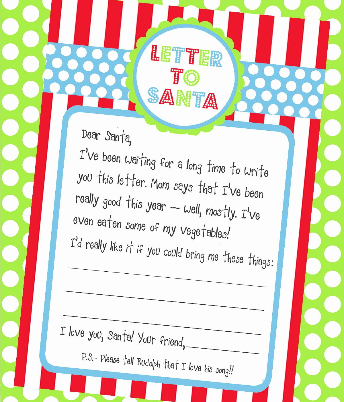 Printable Letter Writing Template Beautiful Amanda S Parties to Go Freebie Letter to Santa Printable