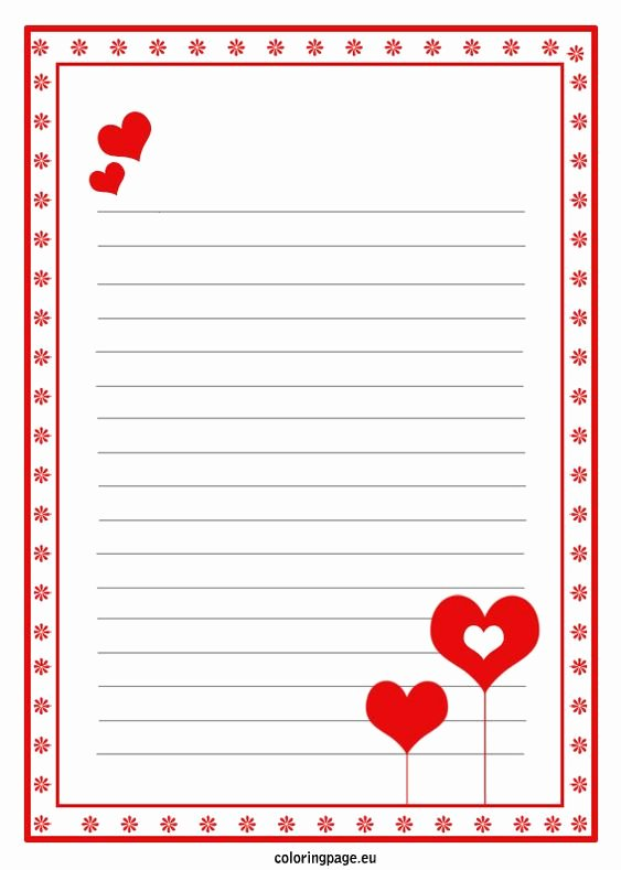 Printable Letter Writing Template Elegant Love Letter Paper Template Valentine S Day