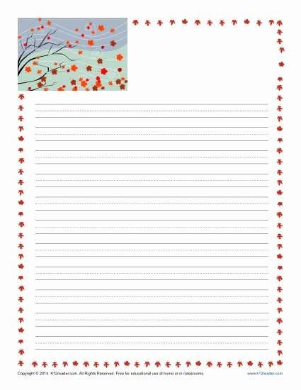 Printable Lined Paper for Kids Fresh Fall Printable Lined Writing Paper