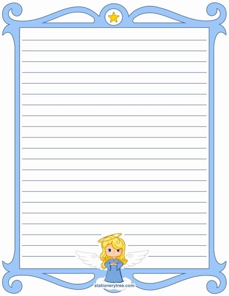 Printable Lined Stationery Paper Beautiful Printable Angel Stationery and Writing Paper Multiple