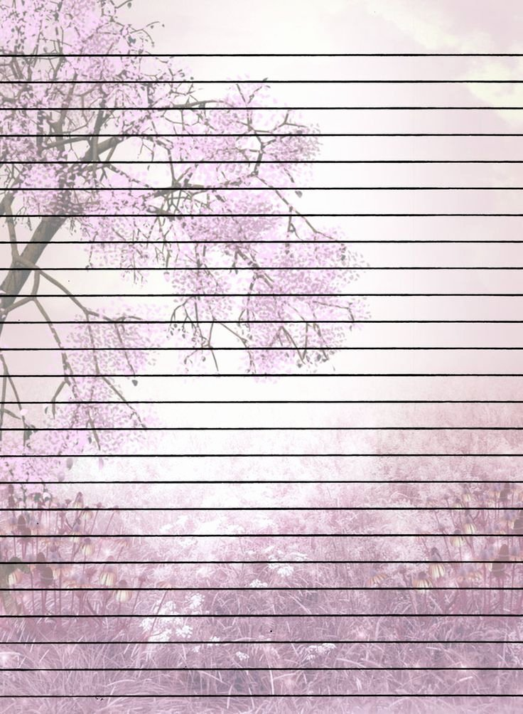 Printable Lined Stationery Paper Beautiful Tree with Flowers Lined Printable Stationary