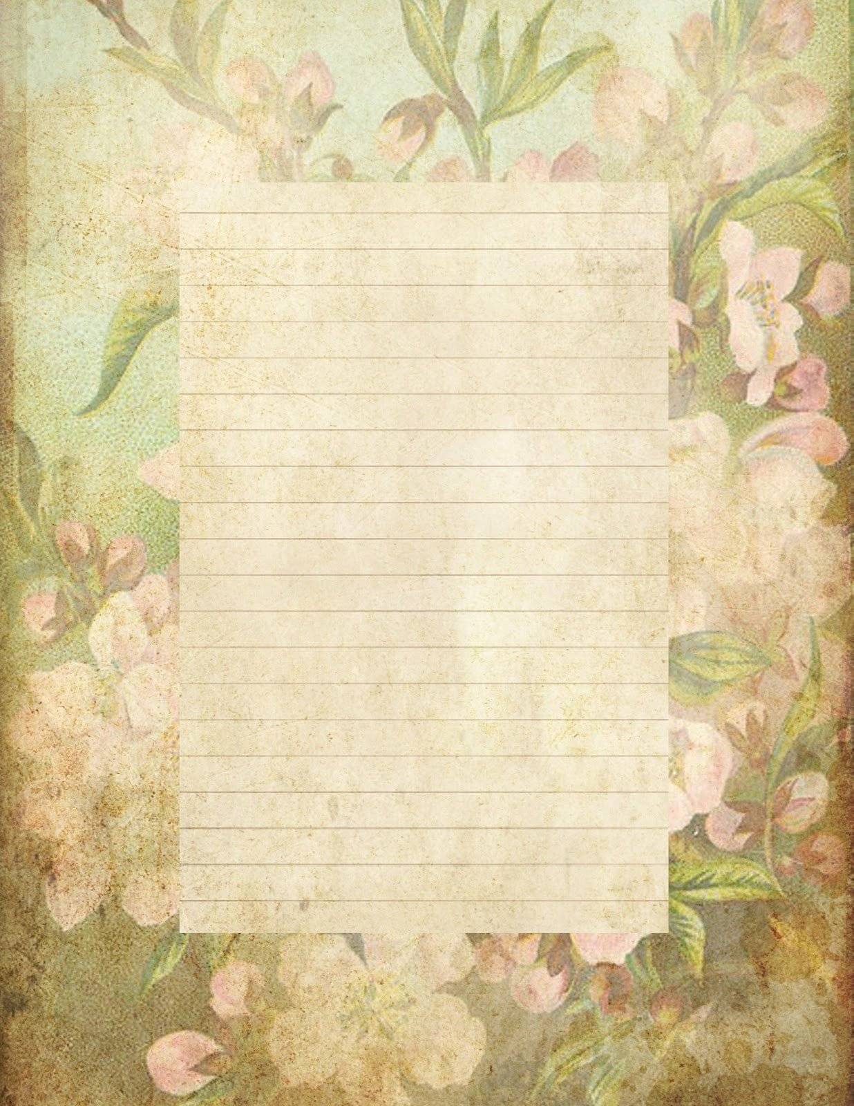 "Printable Lined Stationery Paper Elegant Lilac & Lavender ""antiqued"" Lined Paper & Stationery"