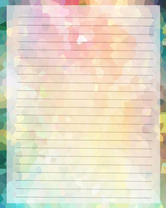 Printable Lined Stationery Paper Elegant Printable Journal Page Instant Download Rainbow Digital