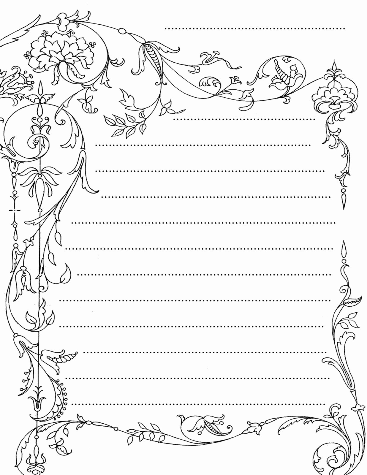 Printable Lined Stationery Paper Fresh Christmas Border Lined Paper Writing