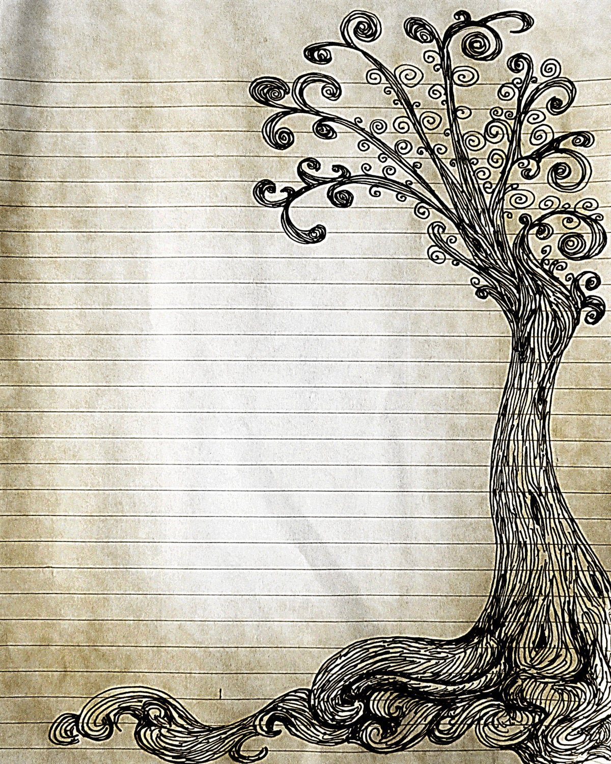 Printable Lined Stationery Paper Inspirational Printable Pen and Ink Tree Drawing Lined Journal Page Digital
