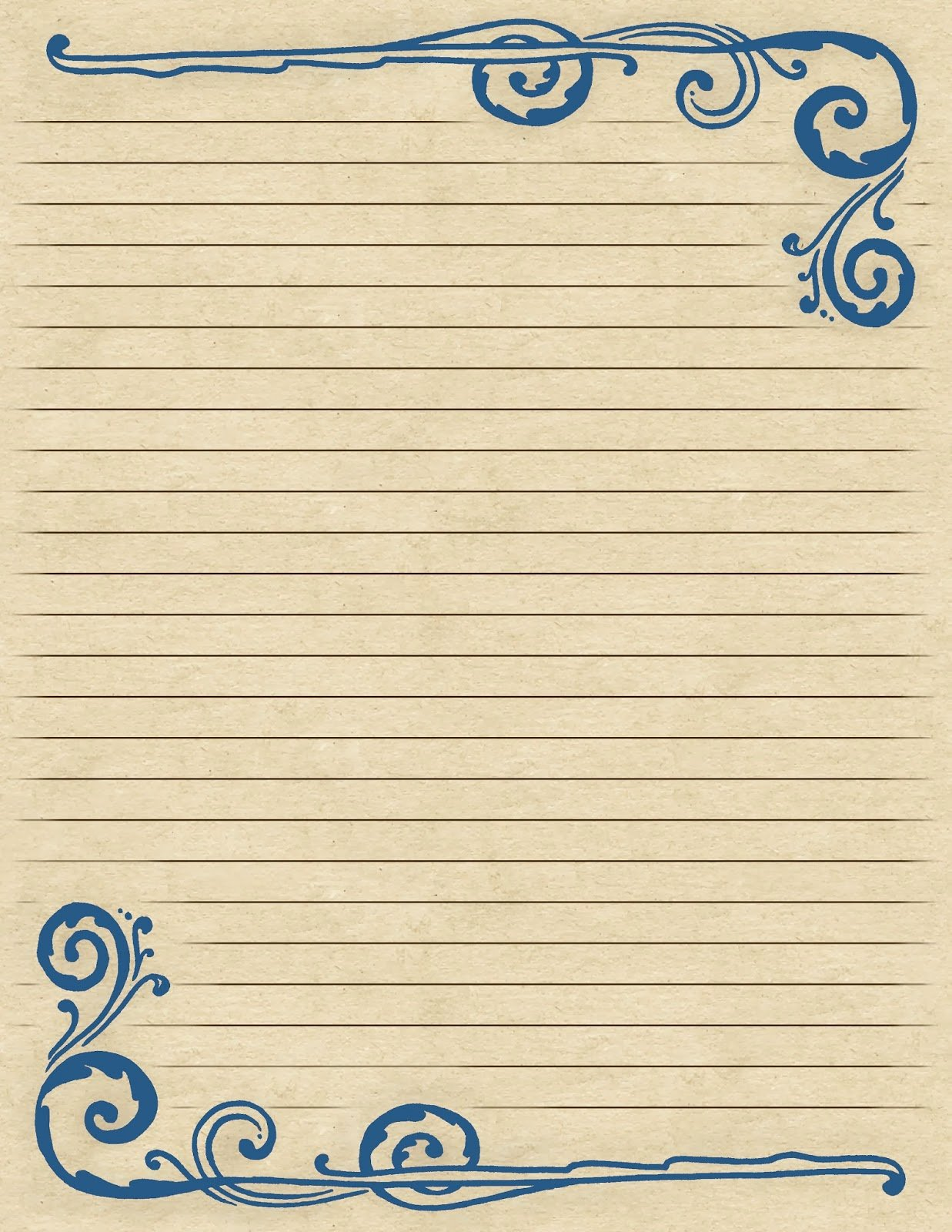 Printable Lined Stationery Paper Lovely Lilac & Lavender Swirling Border & Lined Paper