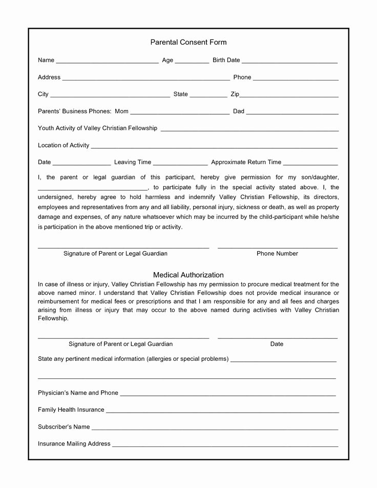 Printable Medical Consent forms Awesome Parental Consent form for S Swifter Parental
