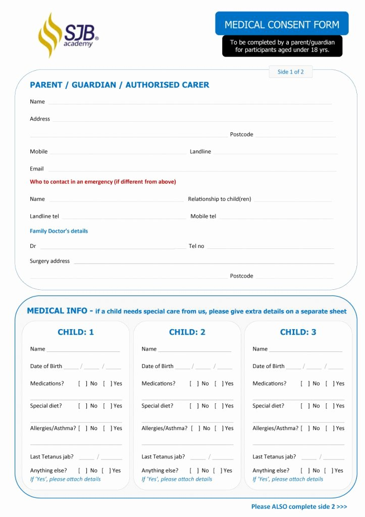 Printable Medical Consent forms Beautiful 45 Medical Consent forms Free Printable Templates