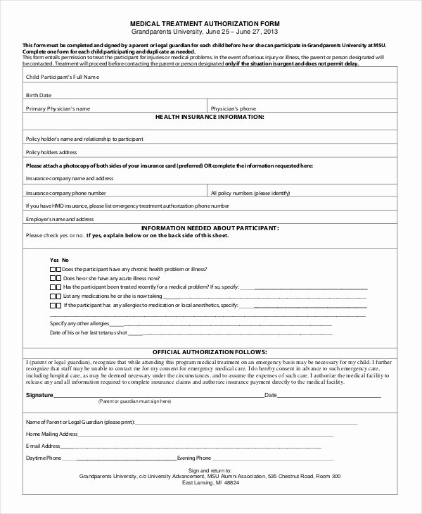 Printable Medical Consent forms Luxury 10 Printable Medical Authorization forms Pdf Doc
