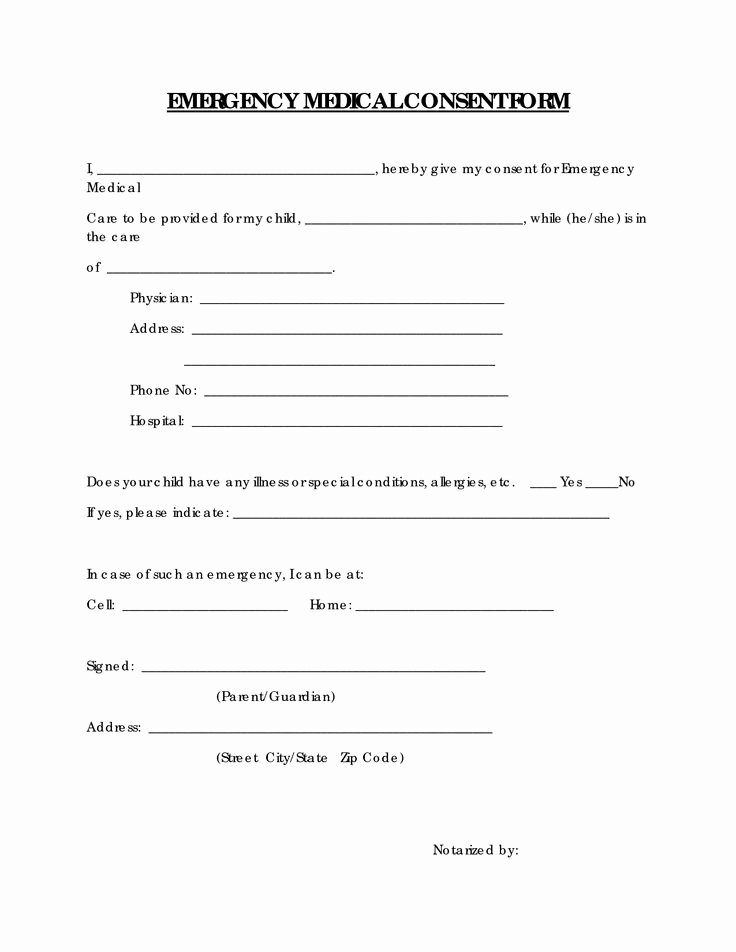 Printable Medical Consent forms Luxury Free Printable Medical Consent form