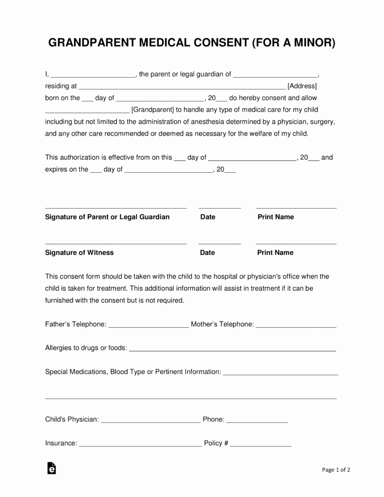 Printable Medical Consent forms New Grandparents' Medical Consent form – Minor Child