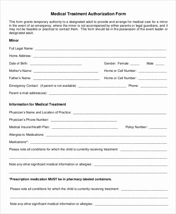 Printable Medical Consent forms Unique 10 Printable Medical Authorization forms Pdf Doc