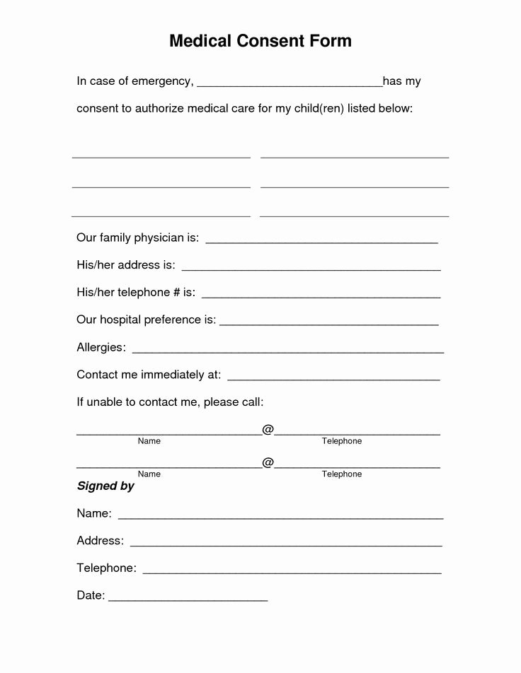 Printable Medical Consent forms Unique Parental Medical Consent form Google Search
