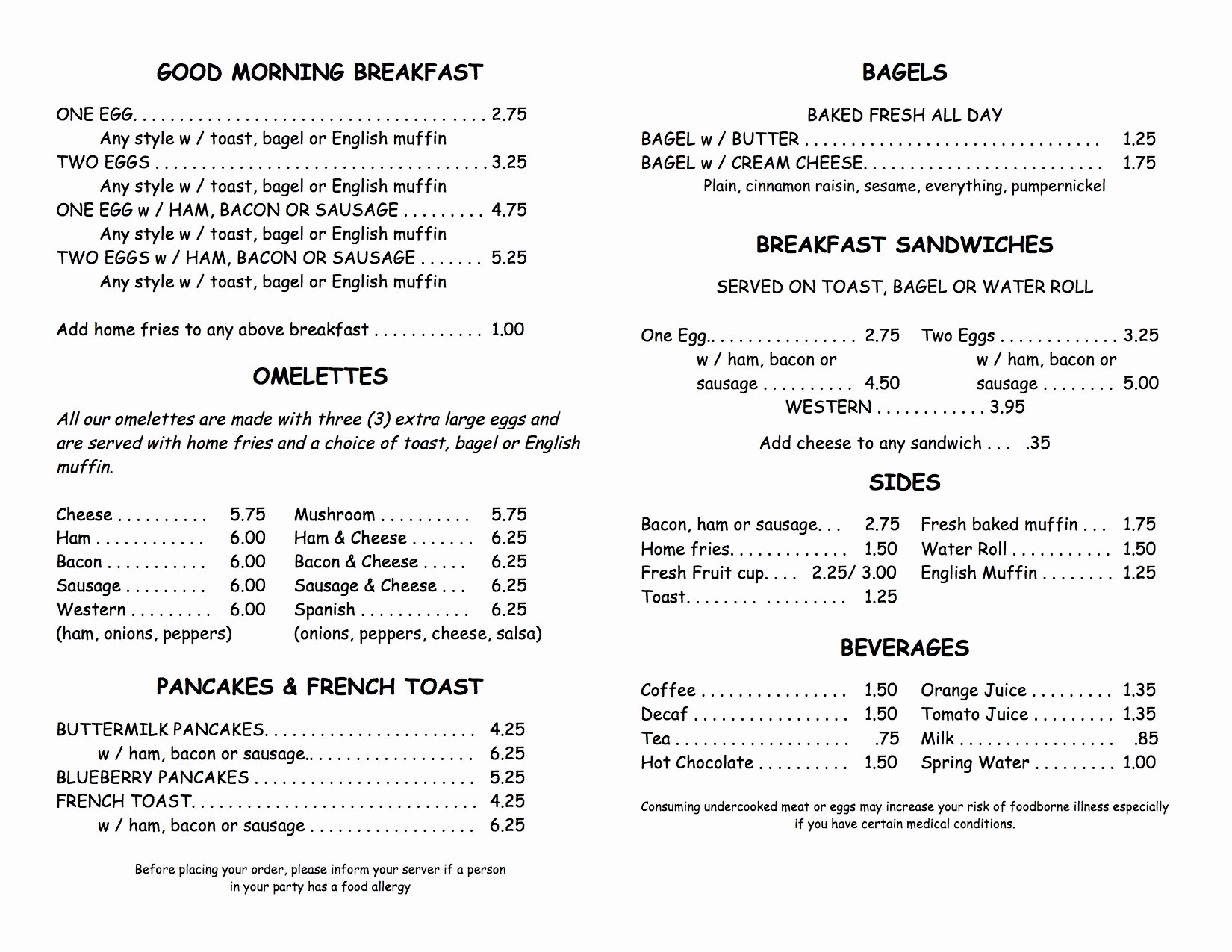 Printable Menu with Prices Beautiful Leo S Gallery Deli