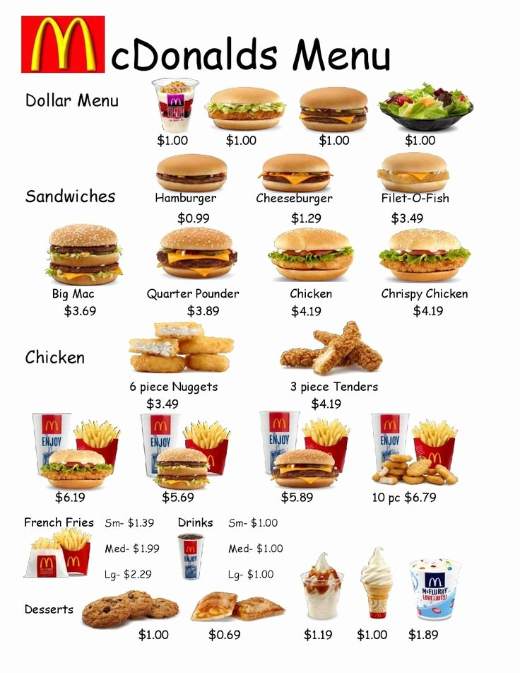 Printable Menu with Prices Best Of Mcdonald Menu On Pinterest