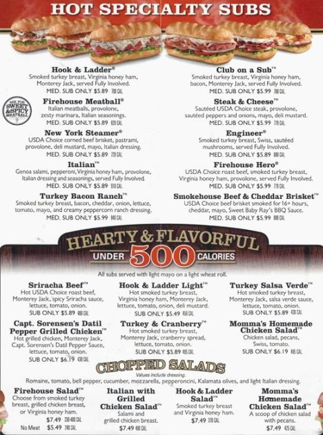 Printable Menu with Prices Elegant 28 Bright Firehouse Subs Printable Menu with Prices