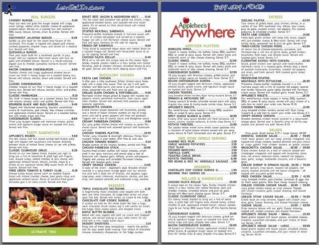 applebees printable menu