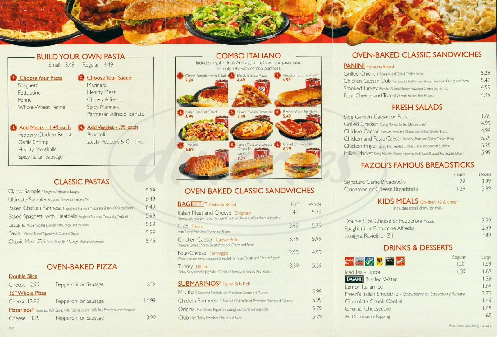 Printable Menu with Prices Inspirational Fazoli S Menu orange Dineries
