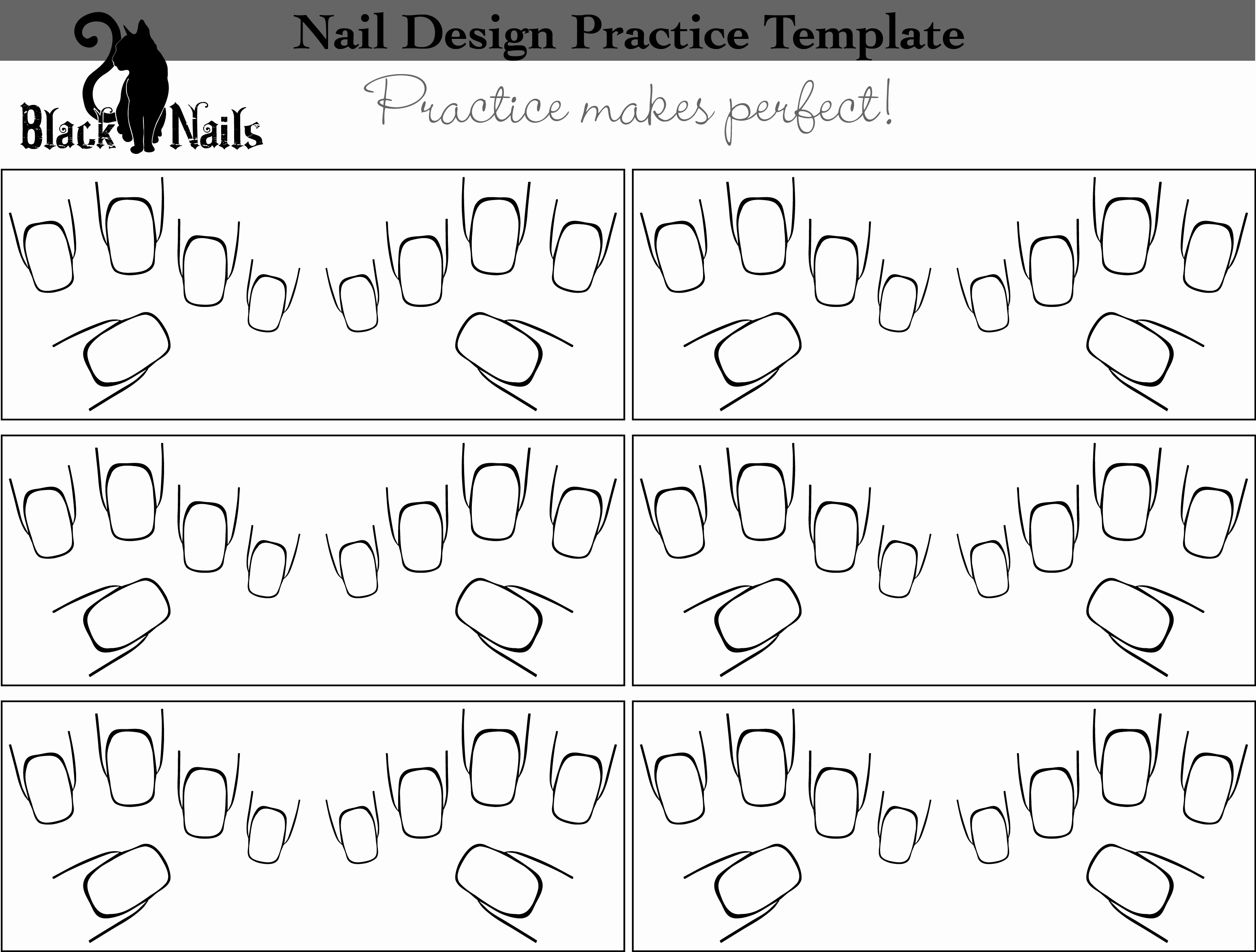 Printable Nail Art Templates Awesome Nail Art Design Practice Sheet Full Hand Versions