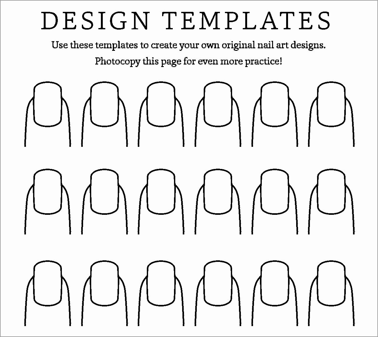 Printable Nail Art Templates Fresh Nail Coloring Pages Coloringbay