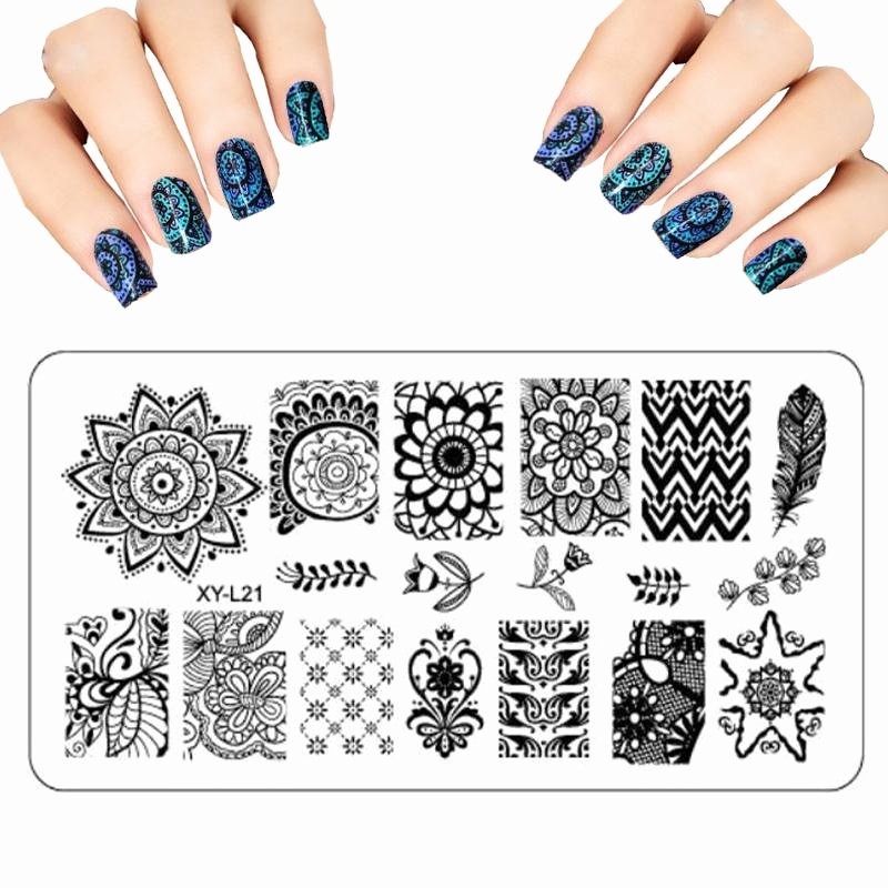 Printable Nail Art Templates Luxury wholesale Stamp Polish Lace Flower Nail Art Templates