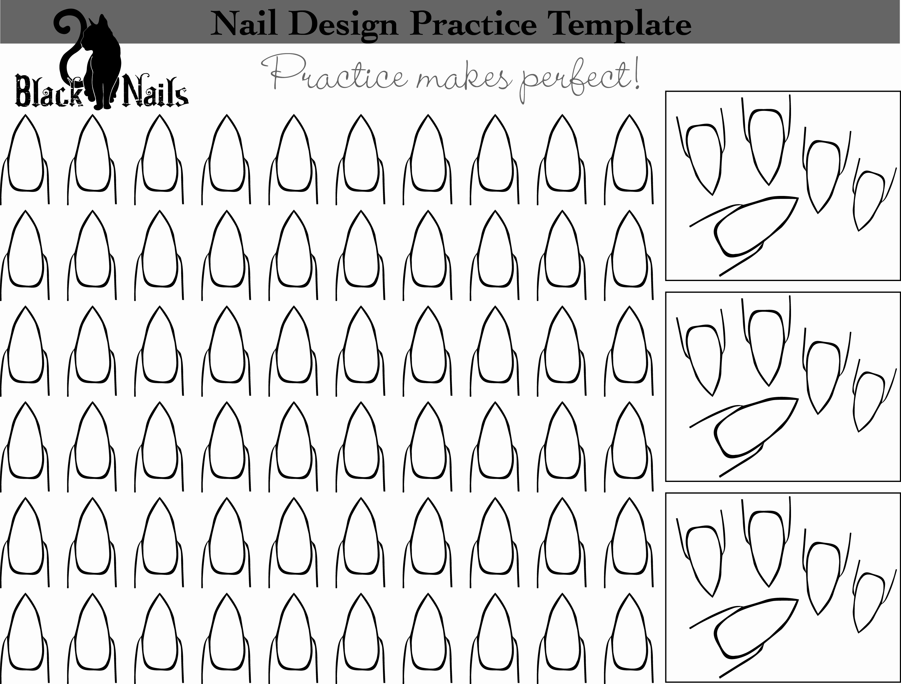 Printable Nail Art Templates New Nail Art Design Practice Templates or Sheets All