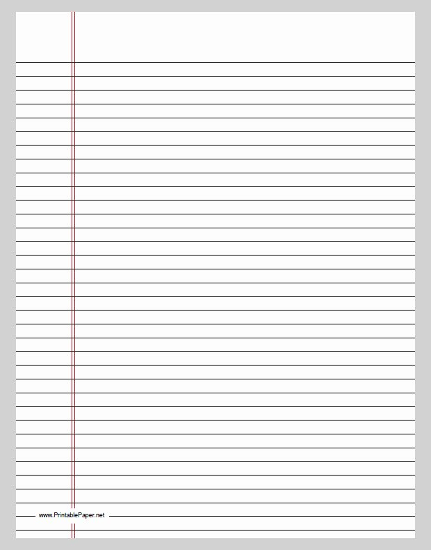 Printable Notebook Paper Wide Ruled Unique Best S Of Printable Lined Paper Template for Word
