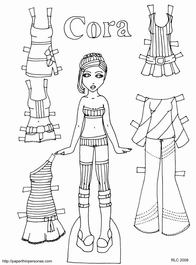 Printable Paper Doll Templates Luxury Cora In Stripes • Paper Thin Personas