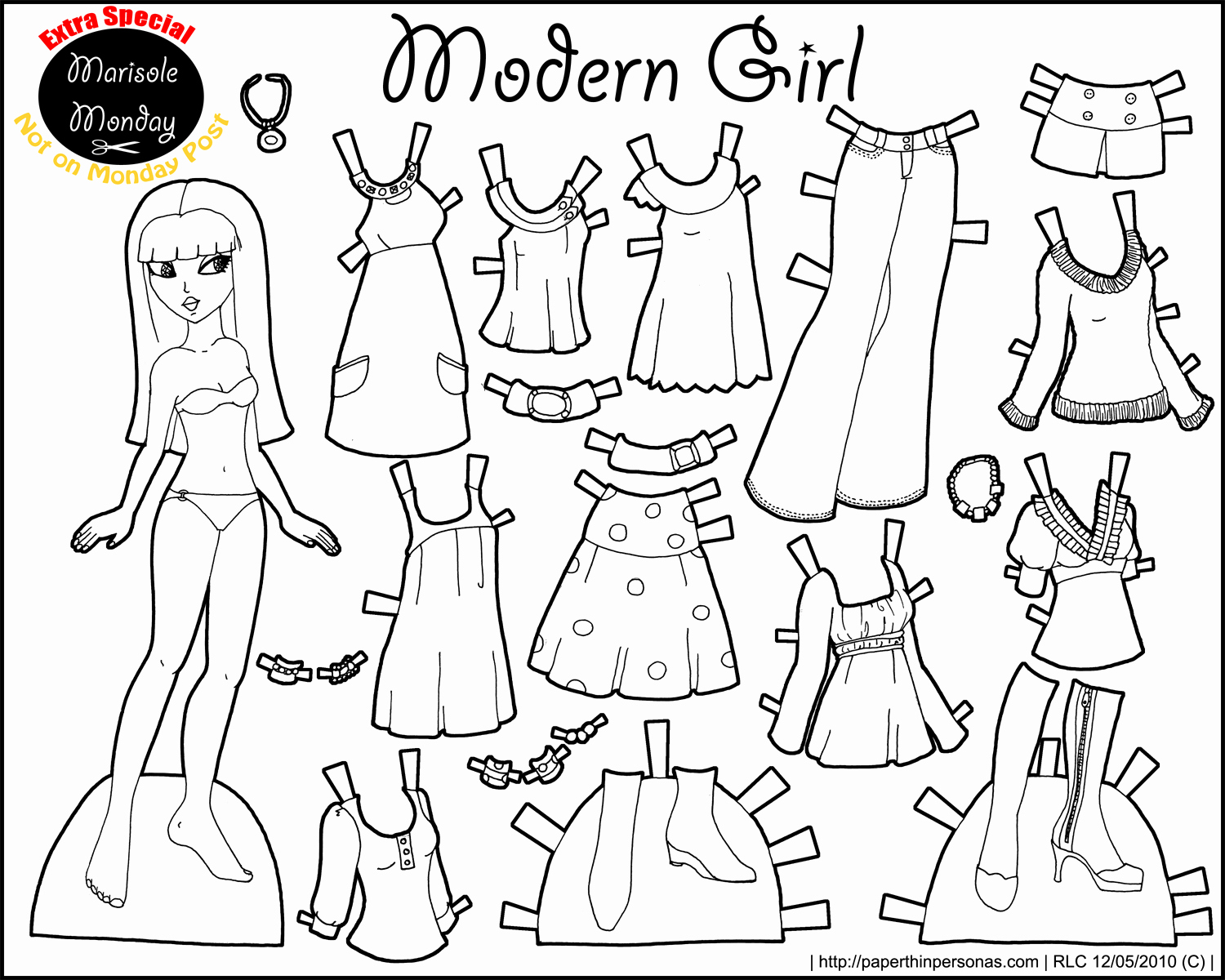 Printable Paper Dolls Template Awesome Marisole Monday Modern Girl In Black & White