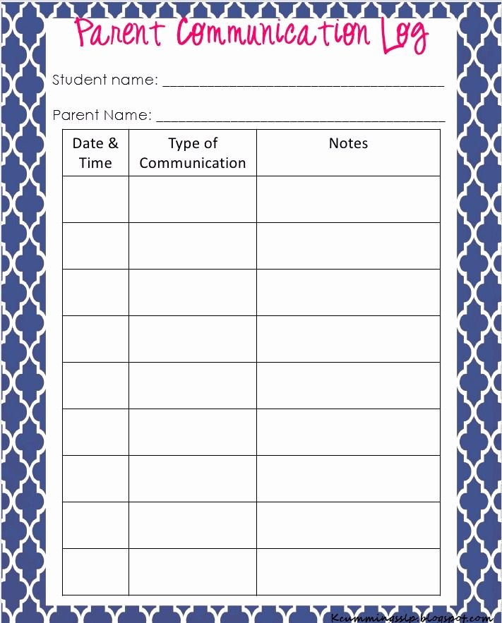 Printable Parent Contact Log Inspirational Parent Munication Log at Simply Speech when You Click