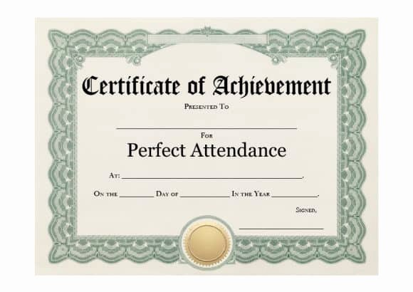 Printable Perfect attendance Award Awesome 40 Printable Perfect attendance Award Templates & Ideas