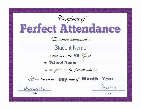 Printable Perfect attendance Award Elegant 23 Sample attendance Certificate Templates In Illustrator