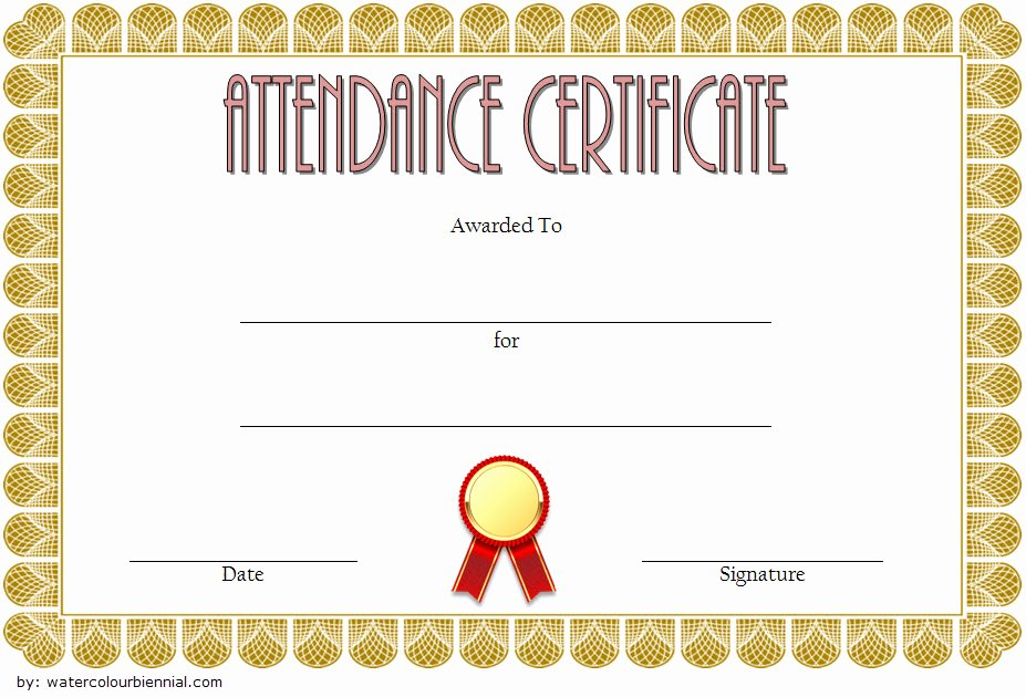 Printable Perfect attendance Award Elegant 8 Printable Perfect attendance Certificate Template Designs