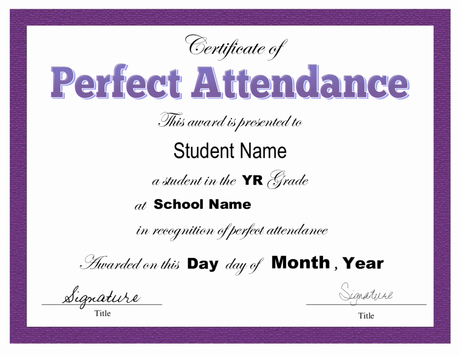 Printable Perfect attendance Award Fresh Certificate Of attendance Free Certificate Of attendance