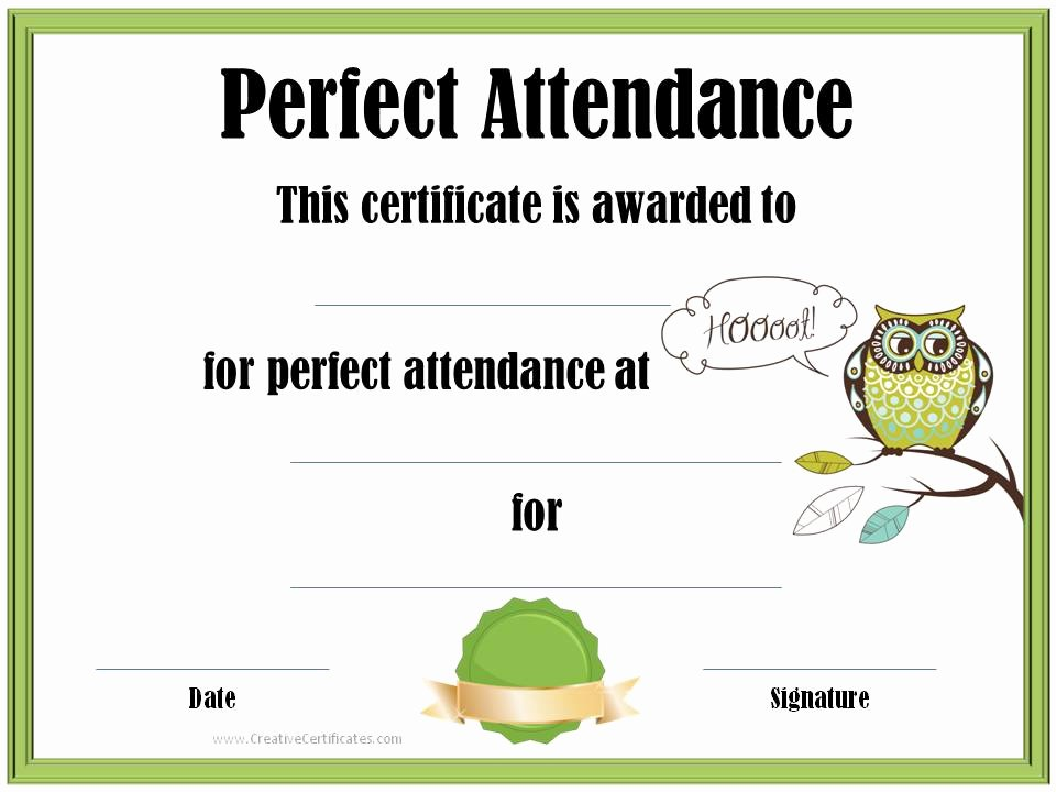 Printable Perfect attendance Award Inspirational Free Printable Perfect attendance Certificate Template
