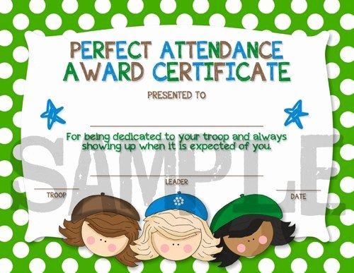 Printable Perfect attendance Award Inspirational Scouts Perfect attendance Award Certificiate Diy