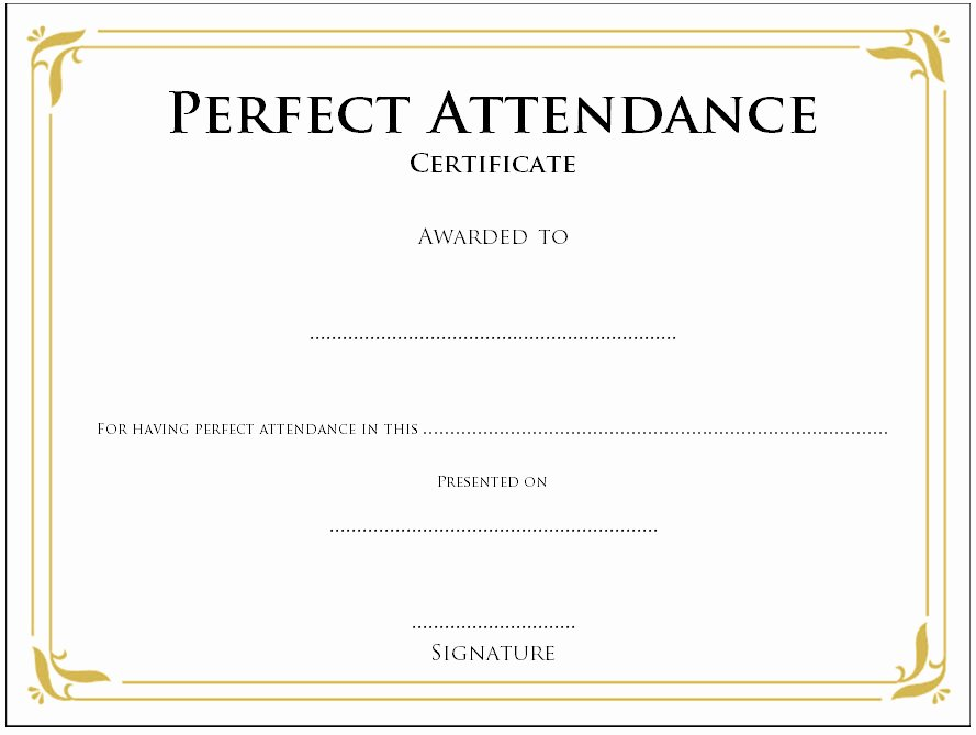 Printable Perfect attendance Award Lovely 8 Printable Perfect attendance Certificate Template Designs