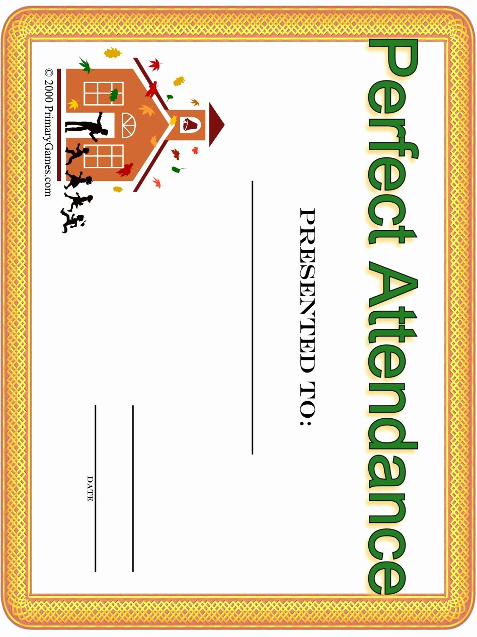 Printable Perfect attendance Award Lovely Award Certificates Primarygames Free Printable